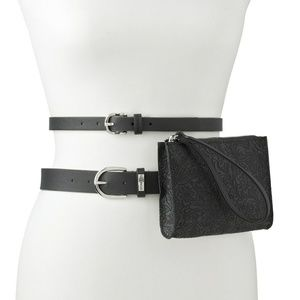 NWT Blk Leather 3 Piece- 2Belt Bag Set Firm Price